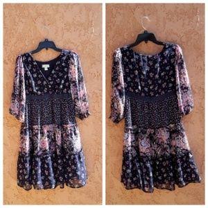 LOFT • Prairie Boho Floral Dress  Midi size 4